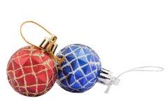 Juguetes rojos y azules de la Navidad Imágenes de archivo libres de regalías