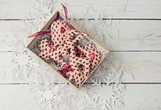 Juguetes suaves de las decoraciones hechas a mano de la Navidad Foto de archivo libre de regalías