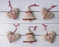 Juguetes suaves de las decoraciones hechas a mano de la Navidad Foto de archivo
