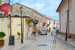 Juhadol ` Rruga g улицы в центре города Shkoder, Албании Стоковые Изображения