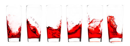 Juice. Red juice in glass - six shots combo - isolated on white Royalty Free Stock Photos