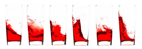 Juice. Red juice in glass - six shots combo - isolated on white Royalty Free Stock Photography