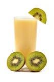 Juice. Fresh juice around  kiwi fruits on white Royalty Free Stock Photo