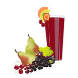 Juice. A glass of fresh juice decorated with sliced fruits and fresh fruits around it,on white background Stock Photography