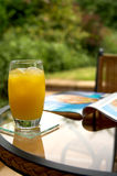 Juice. Fruit juice and magazine shallow DOF focus on drink stock photography