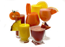 Juice. Five glasses of fresh juice from different fruit Stock Photo