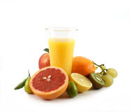 Juice. Fruit juice in glass with various fruits Royalty Free Stock Images