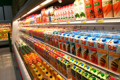Juice Aisle. In the juice corner of the market Royalty Free Stock Photo
