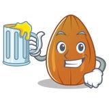 With juice almond nut character cartoon Stock Photo
