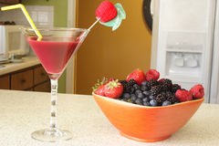 Juice And Bowl Of Berries Royalty Free Stock Photo