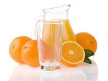 Juice And Oranges On White Stock Photography