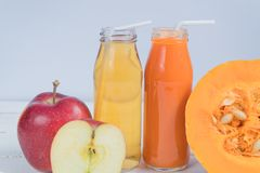 Juice Apple Juice pumpkin. fresh juice. natural juice. Apple pumpkin royalty free stock images