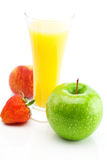 Juice,apple,strawberry and peach Royalty Free Stock Image