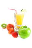 Juice,apple,strawberry,peach,kiwi,measure tape Royalty Free Stock Photography