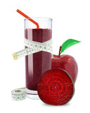Juice of apples and beetroot. And meter on white background Royalty Free Stock Photo