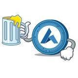 With juice Ardor coin mascot cartoon. Vector illustration Royalty Free Stock Photography