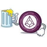 With juice Augur coin mascot cartoon. Vector illustration Stock Photography