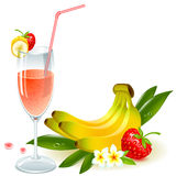 Juice of banana and strawberry Stock Images