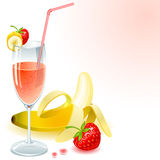 Juice of banana and strawberry Royalty Free Stock Photography