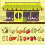 Juice bar and set of colorful food and drink fruit icons. Stock Images