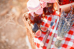Juice, berries and lavender in a straw basket. Royalty Free Stock Images