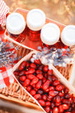 Juice, berries and lavender in a straw basket. Royalty Free Stock Photo