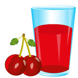 Juice and berry cherry Royalty Free Stock Photos