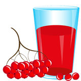 Juice from berry. Glass of juice from red berry on white background stock illustration