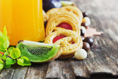 Juice, biscuits and fruit Royalty Free Stock Photo