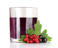 Juice and  black currant on white Royalty Free Stock Photography