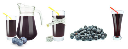 Juice of blueberries, meter and fruit Stock Images