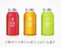 Juice Bottle Jar Template Set variopinto Vettore Immagini Stock