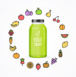 Juice Bottle Jar Template. Vector. Juice Bottle Jar Template. Icons Of Fruit and Vegetables Around. Vector illustration vector illustration