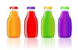 Juice bottles over white background. Vector illustration Stock Images