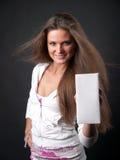 Juice box. Girl holding a blank juice box Stock Photography