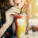 Juice Calm Cheerful Chilling Female Trendy Concept. Juice Calm Cheerful Chilling Female Concept Stock Photo