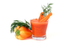 Juice with carrot and pepper Stock Photo