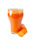 Juice carrot in tall glassful Royalty Free Stock Photos