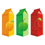 Juice carton boxes. Vector illustration of three juice carton boxes Royalty Free Stock Photos