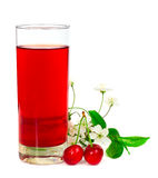 Juice with cherries leafs and flowers Royalty Free Stock Photography