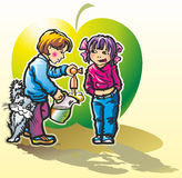 Juice. Children boy and girl  fill in carafe fresh apple juice from tap beside to rub cat Royalty Free Stock Photo