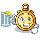 With juice chronometer character cartoon style Royalty Free Stock Image