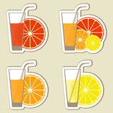 Juice. Collection of fruit juices and smoothies. Lemon, lime, orange, grapefruit. Menu element for cafe or restaurant with energetic fresh drink made in flat Stock Photo