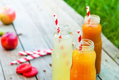 Juice Colors Bottles Party Summer Time Outdoor Stock Photo