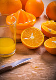 Juice composition glass knife juicer fruits on Royalty Free Stock Images
