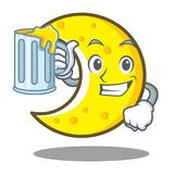 With juice crescent moon character cartoon Royalty Free Stock Image