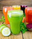 Juice cucumber and vegetable in glassful Royalty Free Stock Image
