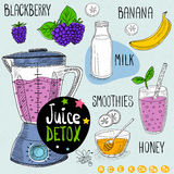 Juice detox set. Stock Photos