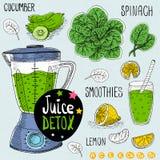 Juice detox set. Royalty Free Stock Photography