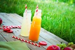 Juice Different Colors Bottles Fruits-Holztisch stockbilder